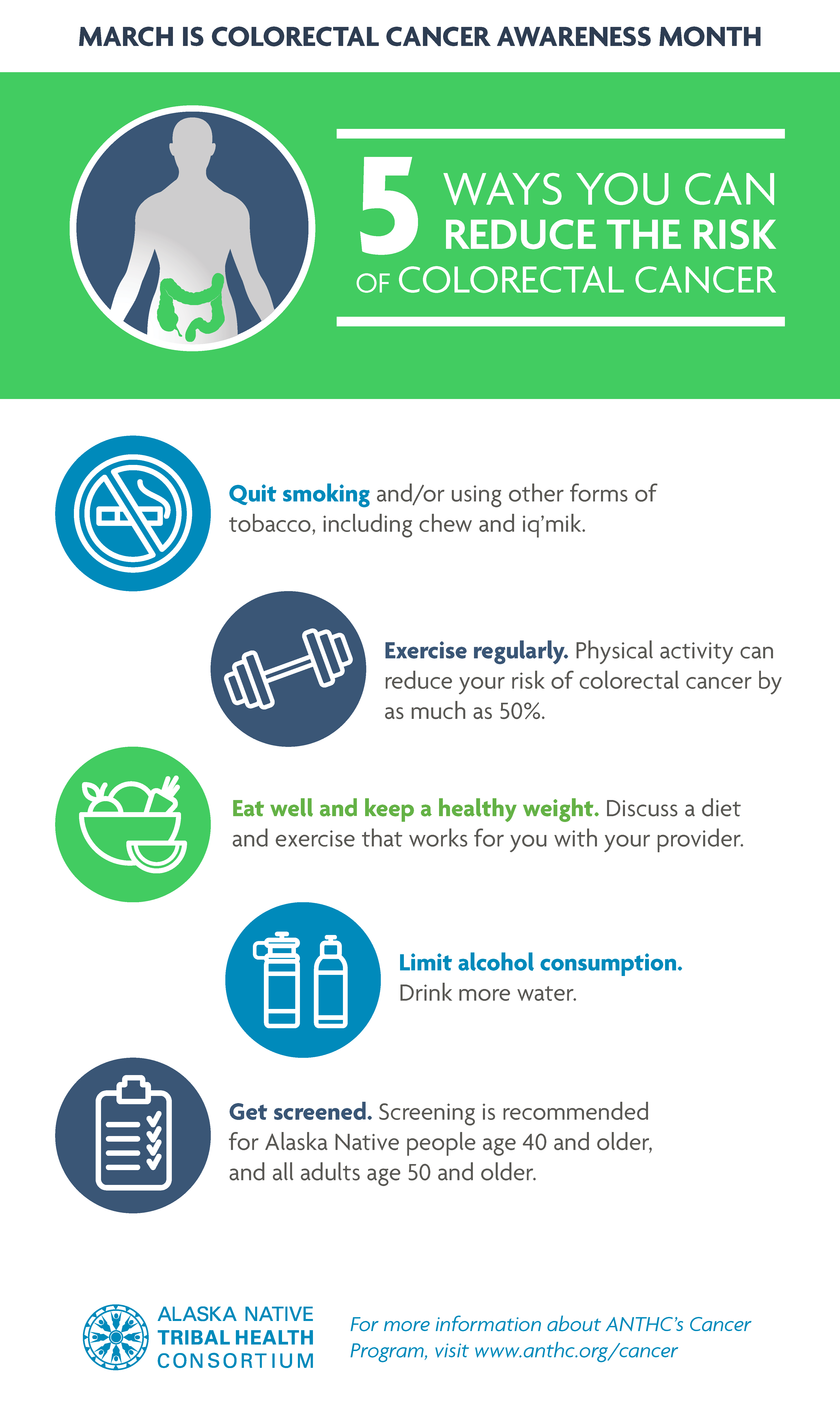 March Is Colorectal Cancer Awareness Month 5 Ways You Can Reduce The Risk Of Colorectal Cancer Alaska Native Tribal Health Consortium