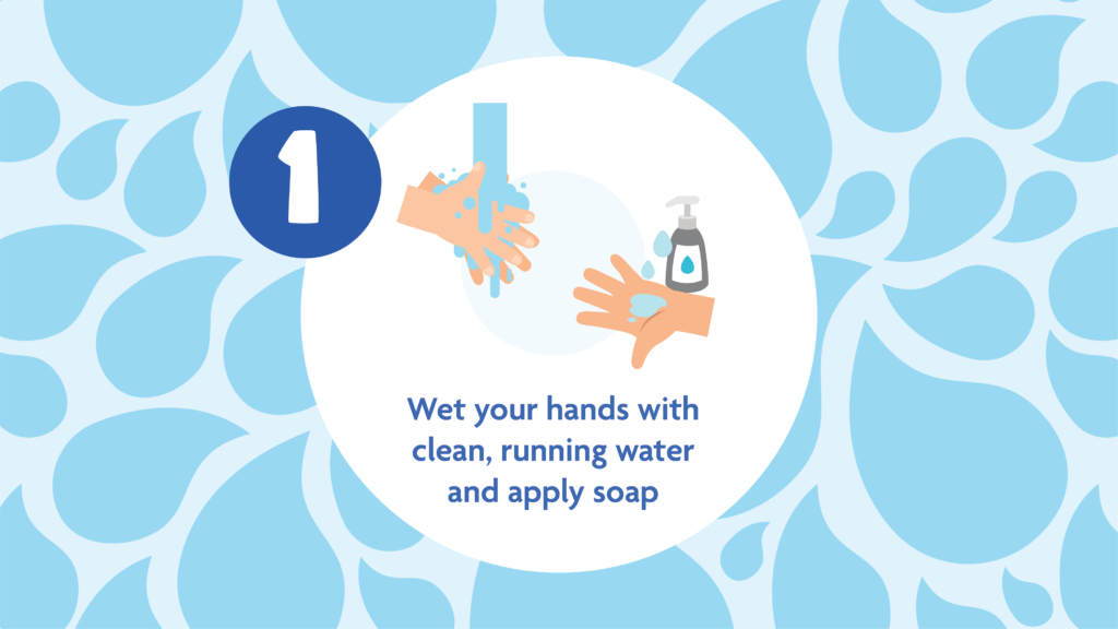 Hand washing tip 1: Wet hands with clean, running water and apply soap