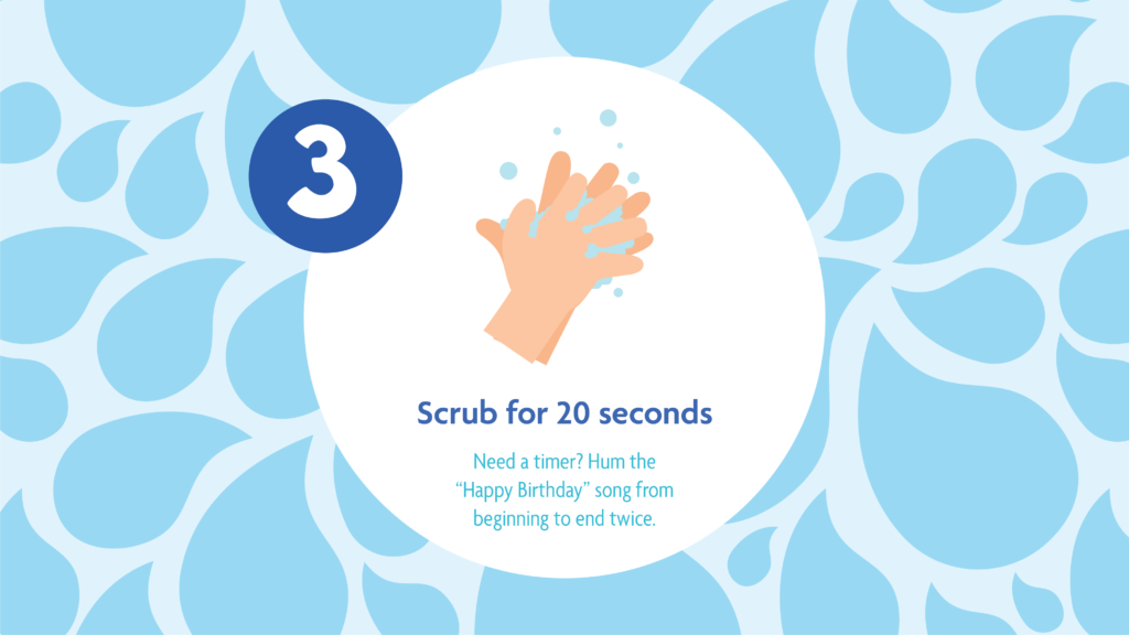 Hand washing Tips 3: scrub for 20 seconds