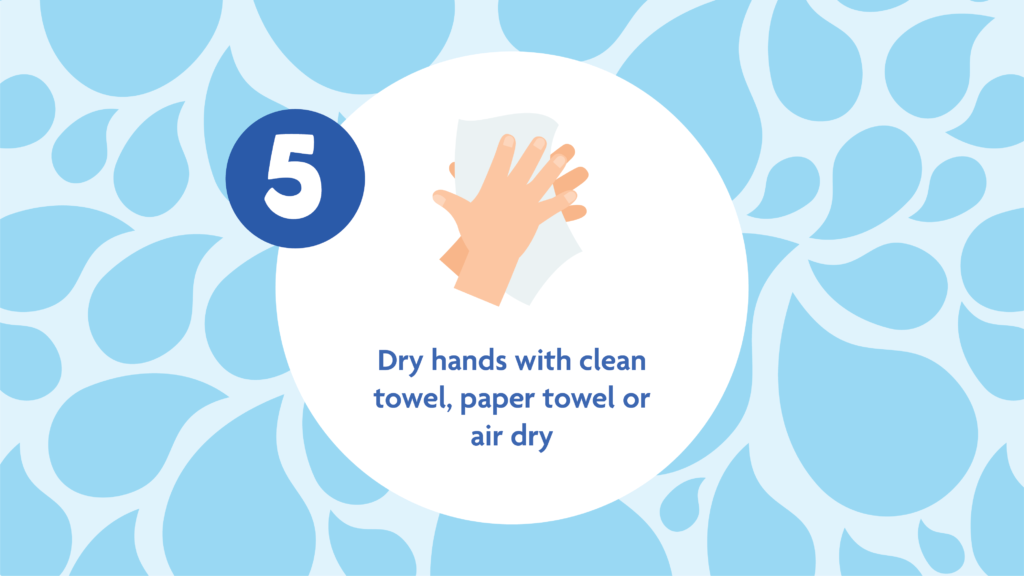 Hand washing Tips 5: dry hands with clean towel, paper towel or air dry